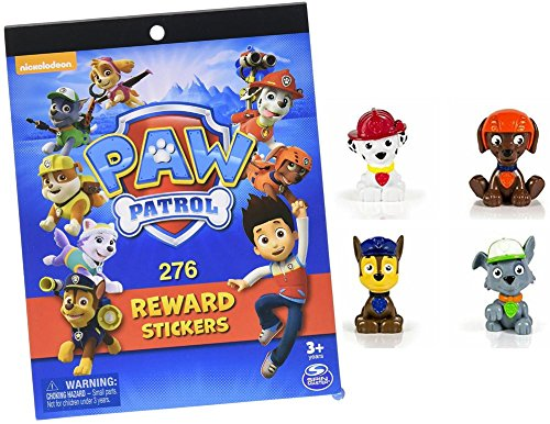 Price comparison product image Paw Patrol Mini Figures (Set of 4),  Rocky,  Zuma,  Marshall,  Chase + Free Gift of Paw Patrol Reward Sticker Book with 276 Stickers