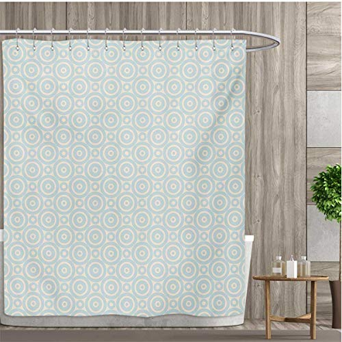 smallfly Shabby Chic Shower Curtain Collection by Big Little Nested Symmetric Circles Dots Geometric Vintage Tile Pattern Patterned Shower Curtain 72