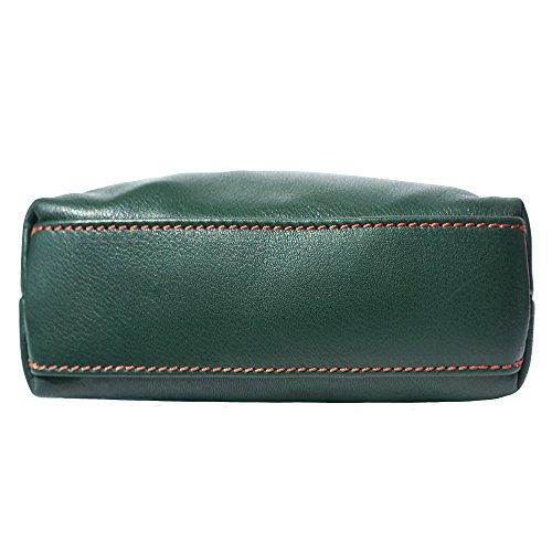 Mini En 8610 De marròn Cuero Verde Bolso Oscuro Hombro Suave 6xSq46w