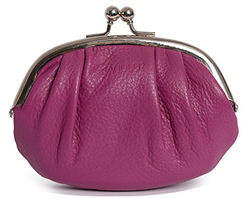 SADDLER Womens Leather Metal Frame Coins and Key Purse - Card Holder - Magenta - Leather Polished Frame