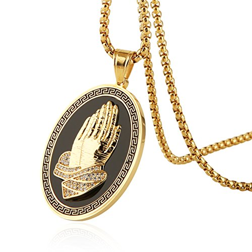 Praying Hands Prayer Box - HZMAN Mens GOLD BLESS ALL 18K Gold Plated Prayer Hand Stainless Steel Oval Medal Pendant Necklace (Gold)
