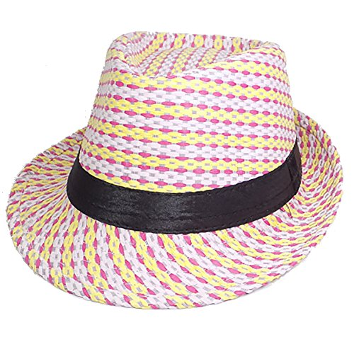 Port Classic Tropical Woven Straw Fedora Hat (57cm, Pink Yellow Lavender)