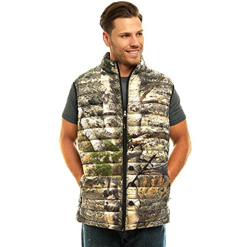 TrailCrest Men's Packable Ultra Lightweight Down Vest, Outdoor Puffer Vest, Mossy Oak Mountain Country (All Weather Vest)