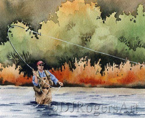 """Fly Fishing Art """"HOOKED UP"""" Art Print Signed by Artist DJ Rogers"""
