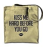 Kiss Me Hard Before You Go Cute Couple Love Natural Canvas Tote Bag, Cloth Shopping Shoulder Bag