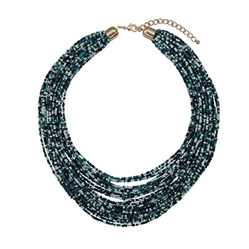 Bocar Multi Layer Chunky Bib Statement Seed Beads Cluster Collar Necklace for Women Gift (NK-10351-tile Blue)