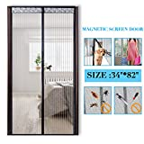 Magnetic Screen Door 34 x 82 with Heavy Duty Magnets,Mesh Curtain Close Automatically Mosquito Bugs Out Pet Toddler Friendly Hands Free Easy Install Black 90cm x 210cm