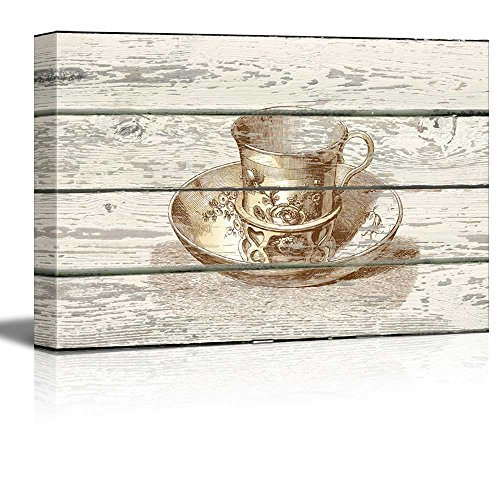 TeaCup and Saucer Engraving Artwork Rustic