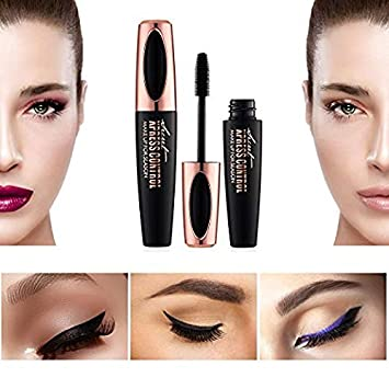 22f5811319d Amazon.com : Waterproof Rimel 3d Mascara 4D Silk Fiber Lash Mascara For Eyelash  Extension Black Thick Lengthening Eye Lashes Korean Cosmetics : Beauty