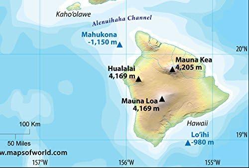 Cartina Mondo Hawaii.Mappa Fisica Hawaii Laminata 91 4 Cm Di Larghezza X 62 Cm Di Altezza Amazon It Cancelleria E Prodotti Per Ufficio