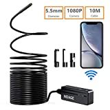 Wireless Endoscope Camera, NIDAGE WiFi 5.5mm 1080P HD Borescope Inspection Camera for iPhone Android, 2MP Semi-Rigid...