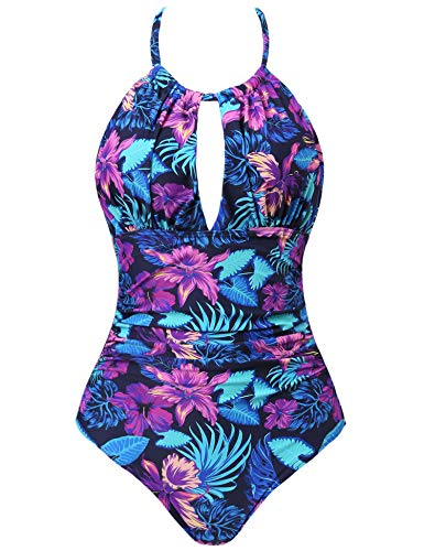 - Joyaria Womens Halter Slimming One Piece Swimsuits Ruched Tummy Control Bathing Suit Monokini Swimwear (Tropic Floral, Large)
