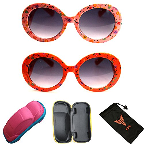 2 Pairs Girls Cute Fun Outdoor Round Oval Fashion Designer Eye glasses Sunglasses with +Free - Designer Free Eyeglasses