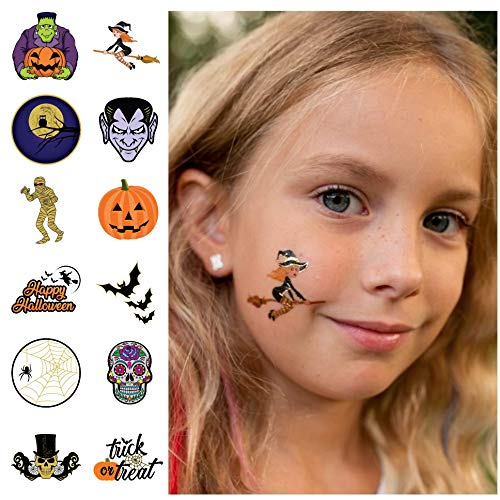 24 Halloween Temporary Tattoos - Best for Party Favors, Gift Bags and Trick or Treat Prizes - Individually Wrapped Metallic Tattoos Featuring Jack O Lanterns, Witches, Monsters and More - -