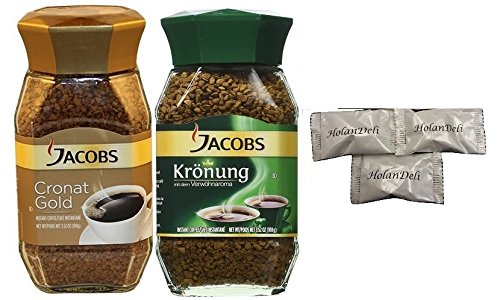 (pack of 2) Assorted Instant Coffee Jacobs Cronat Gold Coffee 3.52oz, Jacobs Kronung Coffee 3.52oz. Includes Our Exclusive HolanDeli Chocolate Mints.