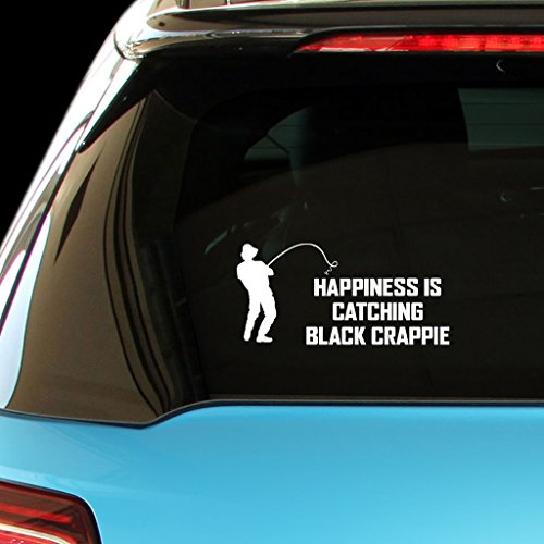 - HAPPINESS IS CATCHING BLACK CRAPPIE Fish Fishing Car Laptop Wall Sticker