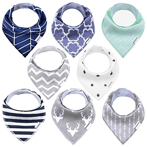 Baby Bandana Drool Bibs for Boy - 8 Pack Bibs Set, Adjustable Snaps & Absorbent Organic Cotton, by PureFountain ()
