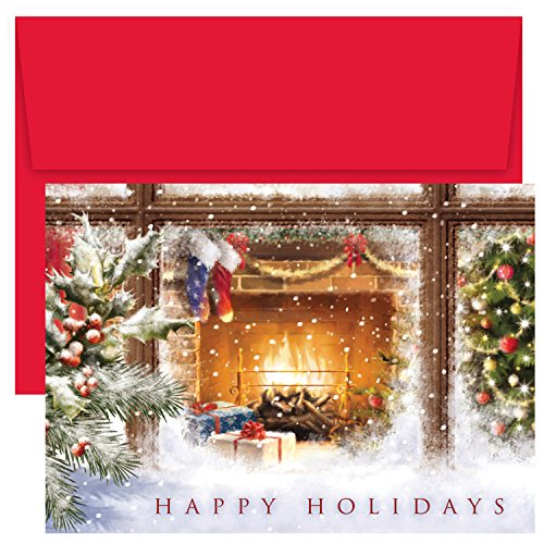 (Masterpiece Studios Holiday Collection 18 Cards / 18 Envelopes, Cozy Fireplace)