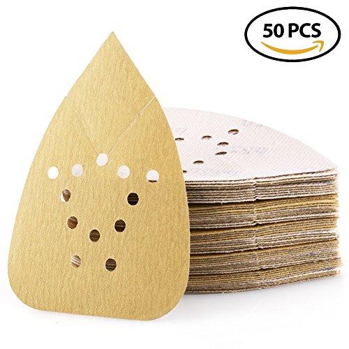 220 Black Finish - Sanding Sheets 220 Grit Hook and Loop Sandpaper - LotFancy 12 Holes Mouse Detail Palm Sander Paper, Pack of 50