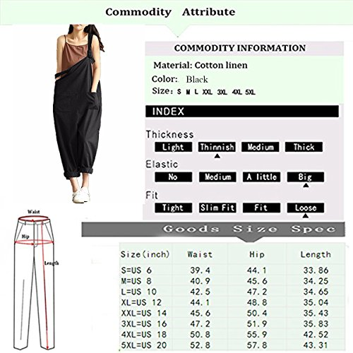 b6506765ea0d Lncropo Women Large Plus Size Baggy Overalls Casual Wide Leg Pants  Sleeveless Rompers Jumpsuit Vintage Haren Overalls