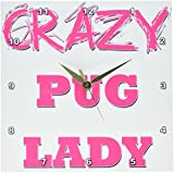 Cheap 3dRose dpp_175244_1 Crazy Pug Lady Wall Clock, 10 by 10-Inch