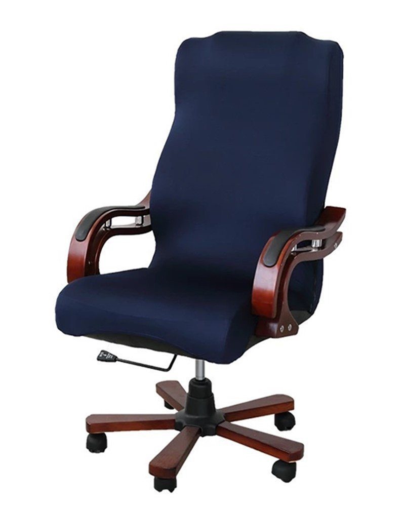 G-Champsolar Back Office Chair Covers Stretchy for Computer Chair/Desk Chair/Boss Chair/Rotating Chair/Executive Chair Cover, Large Size (Navy Blue)