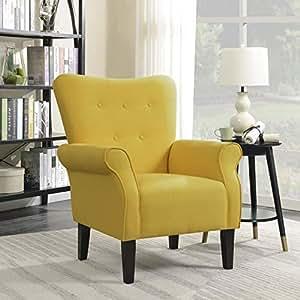 Amazon Com Belleze Modern Accent Chair Roll Arm Linen