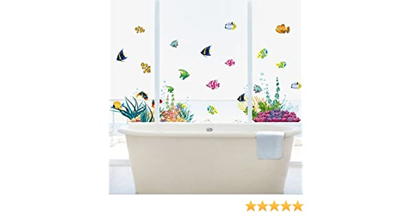 Pegatina baño fondo marino peces tropicales, 130 x 42 cm mampara baño, cuartos infantiles, vestidores, baños caravanas... de OPEN BUY: Amazon.es: Hogar