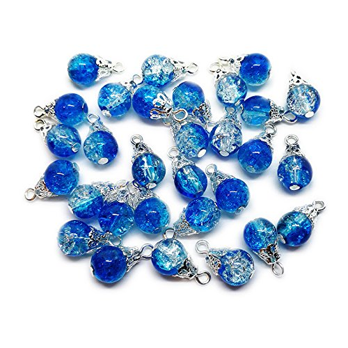 30pcs Handcrafted Crackle Glass Beads Drops w/Silver Wire & Bead Cap for Jewelry Making by Beading Station (Blue)