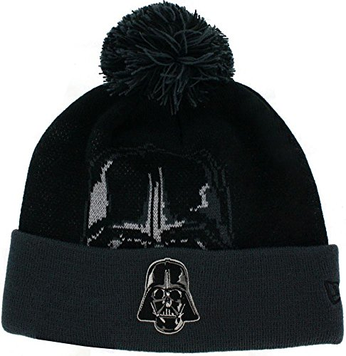 Star Wars Darth Vader Woven Biggie Knit Hat with Pom Black -