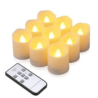 Weihnachtsdeko Led Kerzen.Led Kerzen Synmixx 9 Led Flammenlose Teelichter Flackern Kerzen Mit Fernbedienung Timerfunktion Dimmbar Elektrische Kerze Lichter Für