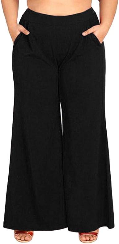 pantalones de pierna ancha talla grande mujer