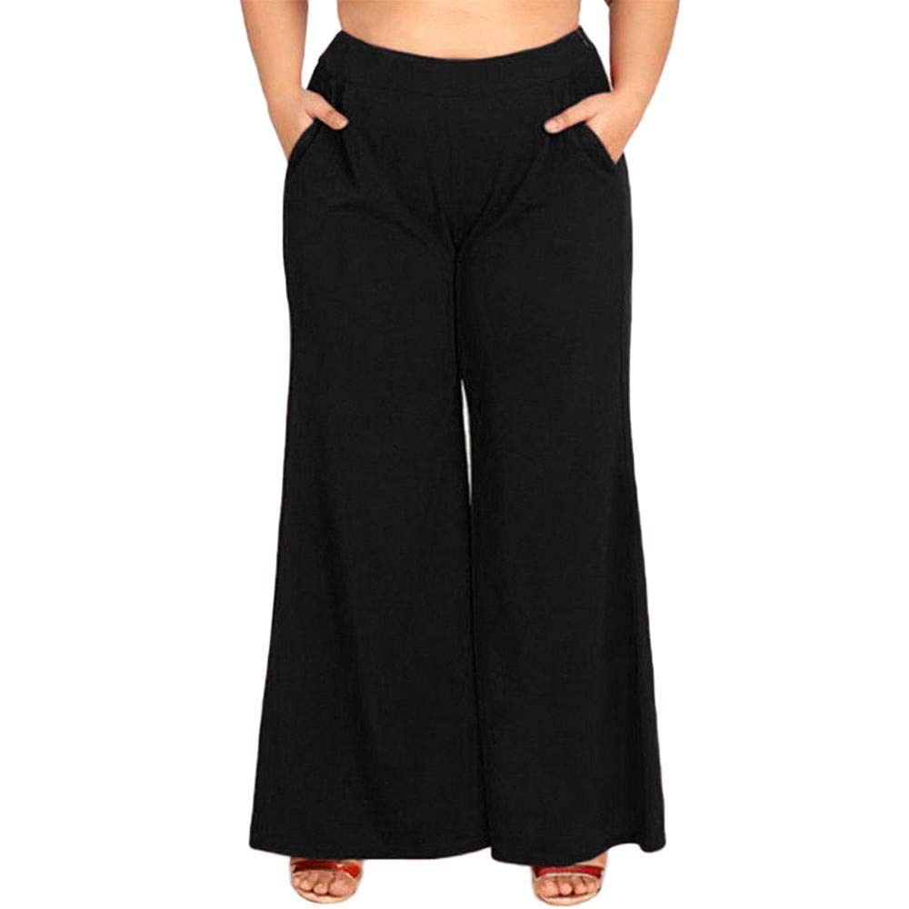 GoodLock Clearance!! Women Wide Leg Loose Pants Casual High Waist Palazzo Zipper Flare Pants Trousers Oversize Plus (Black, XXXX-Large)