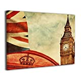 TRdY Page London Painted Canvas Inner Framed Wall Decor Modern Artwork for Office Home Decor Pictures Ready to Hang for Living Room Bathroom