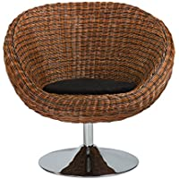 Euro Style Oliana Rattan Swivel Chair with Microfiber Cushion and Chrome base, Triple Brown