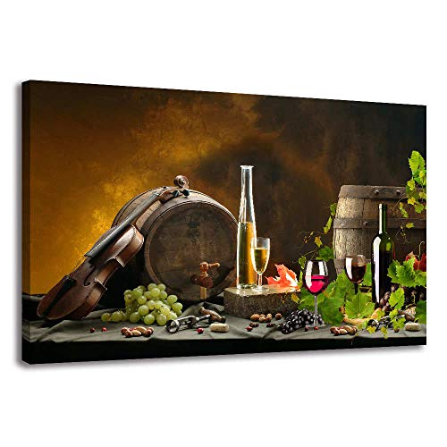 Vintage Red Wine Bottle and Grape Canvas Wall Art Stretched and Framed Artwork Still Life Painting Print for Kitchen Restaurant Dining Room Decor (Brown, 16x24inx1) (Art Bottle Wine)