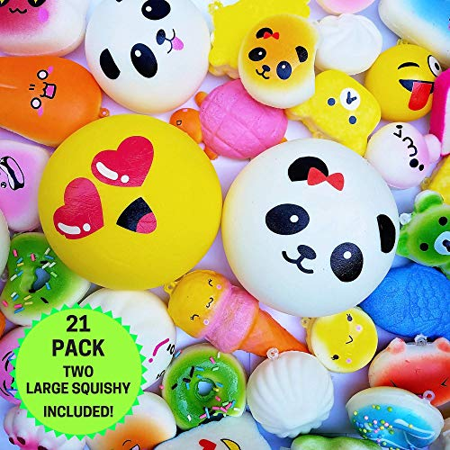20pc Pack Of Squishy Toys, Plus Bonus Large Squishy For 21 Slow Rising Squishys! Jumbo, Medium & Mini Squishy Stress Toys. Best Cute Squishies Gift For Boys and -