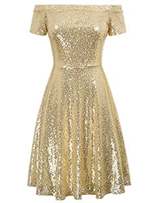 GRACE KARIN Women's Sequin Bridesmaid Dress Short Sleeve Off Shoulder Pleated A-Line Evening Dress
