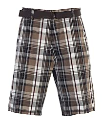 Gioberti Mens Plaid Shorts with Belt, 5 Pockets, Brown / Black, Size 30