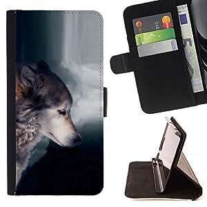 Momo Phone Case / Flip Funda de Cuero Case Cover - Lobo Waterfull indio salvaje Bosque Animal - Apple Iphone 5C
