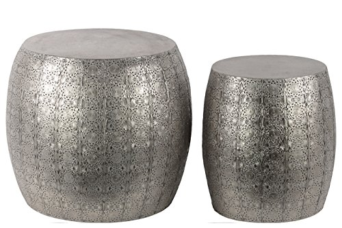 (Urban Trends Metal Round Table with Embossed Floral (Set of 2),)