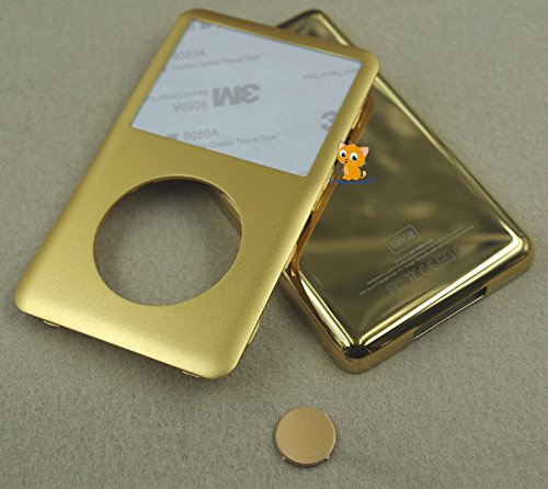 Gold Golden Color Front Faceplate Fascia + Metal Back Rear Housing Case Cover Shell Central Button Key Repair Replacement for Ipod 6th Gen Classic 120gb