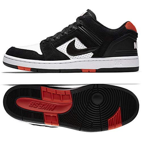 Nike SB AIR Force II Low Mens Skateboarding-Shoes AO0300-006_8 - Black/Black-White-Habanero RED
