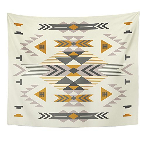 Emvency Tapestry Beige Navajo Ethnic Pattern Brown Aztec Native Cute Fantasy Home Decor Wall Hanging for Living Room Bedroom Dorm 50x60 Inches