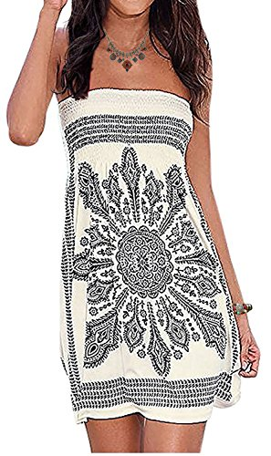 Inital Women's Beach Dress Floral Print Bohemian Summer Dress Cover-up Dress Beige 2XL