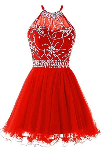 Red Party Cocktail Dress Homecoming Gowns Tulle Prom Cdress Short Halter Dress Beading tPqxwzXzn