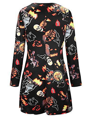 pour Cocktail Costume Tombe Parade Longues SIMYJOY Party Patineuse Femme Noir Robe Manches and Pumpkin Swing Robe Halloween nFPxa7Tz