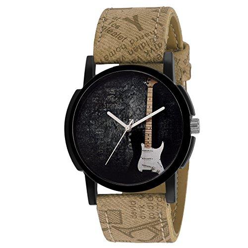 Eraa Men Brown Guitar Analog Wrist Watch