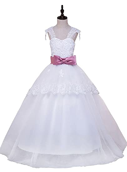 02bf150202 Beauty-Emily Flower Girl Dresses White Girl s Elegant Lace Fashion A line  Prom Party Bridal