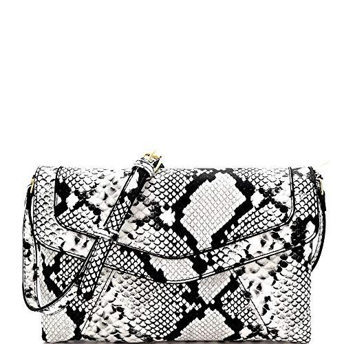 Snake Print Envelope Flap Vegan Leather Medium Crossbody Shoulder Bag
